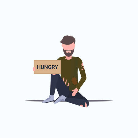 bearded man beggar holding sign board with hungry text tramp sitting on floor begging for help homeless jobless concept flat full length white background vector illustration