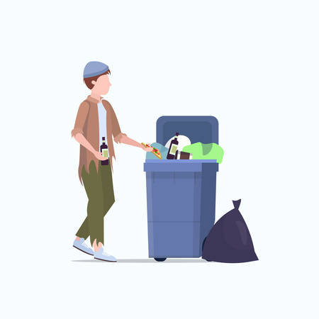 poor man beggar holding bottle of alcohol tramp searching food and clothes in trash can on street homeless jobless unemployment poverty concept white background full length vector illustration