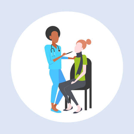 female doctor examining throat of woman patient by depressor sore medicine healthcare concept full length flat vector illustration