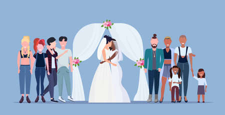 couple newly weds lesbians in white dress standing behind floral arch same gender happy married family wedding celebrating concept female cartoon characters full length flat horizontal vector illustration