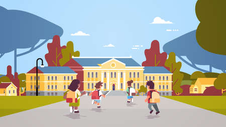 rear view children group with backpacks running back to school education concept mix race pupils in front of building landscape background flat full length horizontal vector illustration
