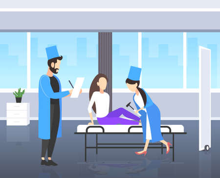 neurologists testing knee-jerk on woman knee doctors in uniform using hummer checking reflexes of female patient medicine healthcare concept modern hospital room interior full length flat vector illustration