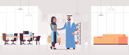 arabic businesspeople man woman handshaking arab business partners couple hand shake during meeting agreement partnership concept modern co-working center office interior full length horizontal vector illustration