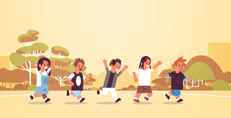school children group running together elementary age schoolchildren group having fun outdoor male female pupils landscape background flat full length horizontal vector illustration