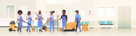 cleaners team in uniform working together cleaning service concept african american janitors using professional equipment clinic reception hospital corridor interior flat full length horizontal vector illustration