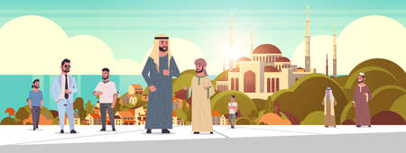 arabic people walking outdoor arab men wearing traditional clothes arabian cartoon characters over nabawi mosque building muslim cityscape beautiful seaside background horizontal vector illustration