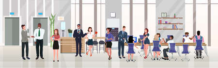 businesspeople employees successful teamwork concept hardworking process open space creative co-working center modern workspace office interior flat horizontal full length vector illustration