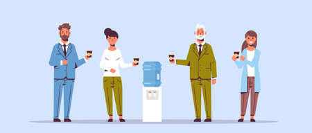 businesspeople office workers talking and drinking water while standing near cooler employees having break concept flat full length horizontal vector illustration