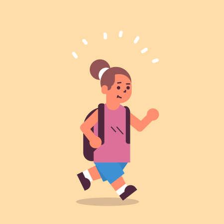 schoolgirl with backpack running back to school education concept female pupil having fun flat full length vector illustration