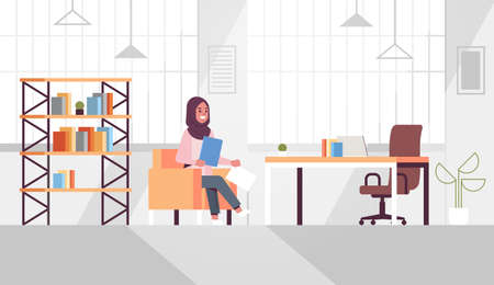 arabic businesswoman sitting at workplace desk arab business woman holding paper documents preparing report working process concept modern office interior flat horizontal vector illustration