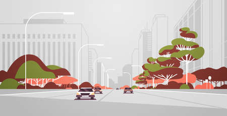 cars driving road modern city panorama with street lamps skyscrapers urban cityscape background flat horizontal banner vector illustration Illustration