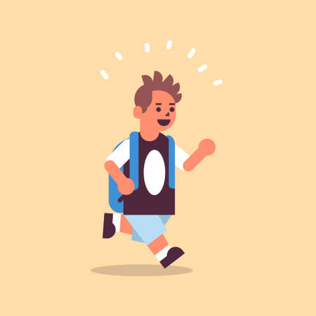 schoolboy with backpack running back to school education concept male pupil having fun flat full length vector illustration
