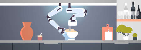 smart handy chef robot using mixer kneading dough in bowl for baking robotic assistant innovation technology artificial intelligence concept modern kitchen interior flat horizontal banner vector illus  イラスト・ベクター素材