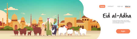 happy Eid al-Adha mubarak muslim holiday concept arab family standing with white black sheep flock Sacrifice festival nabawi mosque building cityscape flat full length horizontal copy space vector illustration