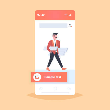 man architect holding rolled up blueprints engineer panning new project architecture construction industry concept contractor with architectural projects smartphone screen mobile app full length vector illustration