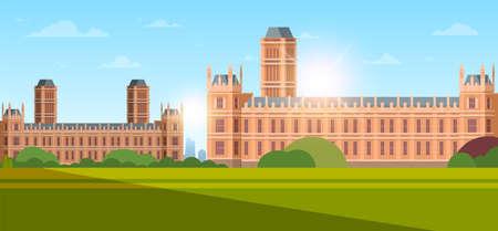 moderne nationale universiteit of hogeschool gebouw buitenaanzicht lege voortuin met groen gras en bomen onderwijs concept zonsondergang achtergrond vlakke horizontale vectorillustratie Vector Illustratie