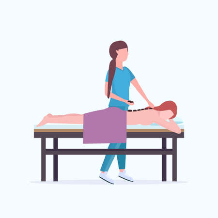 young girl having hot stone back massage masseuse in uniform massaging patient body woman relaxing lying on bed luxury spa salon treatments concept full length vector illustration Иллюстрация