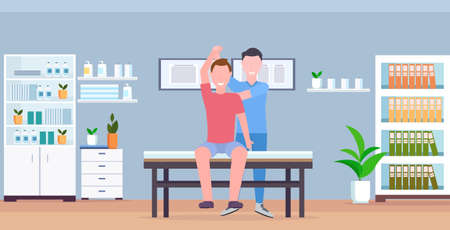 man patient sitting on table masseur therapist doing healing treatment massaging patient body manual sport physical therapy concept modern clinic hospital room interior horizontal vector illustration