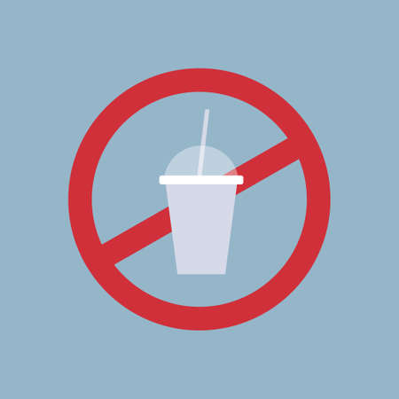 say no to plastic cup poster pollution recycling ecology problem save the earth concept ban cups straws prohibition sign flat vector illustration