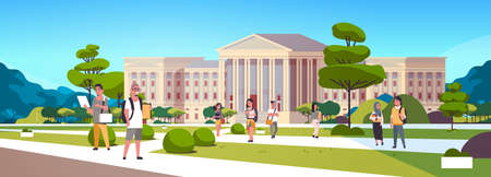 young mix race students group at campus yard education concept college friends relaxing and walking in front of university building exterior horizontal full length vector illustration Stock Illustratie
