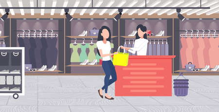 woman customer buying new handbag at cash desk counter fashion shop cloth store female shopping mall modern boutique interior flat horizontal vector illustration