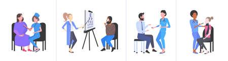 définir les médecins examinant les patients différents consultations médicales médecine concept de soins de santé collection plate illustration vectorielle horizontale pleine longueur