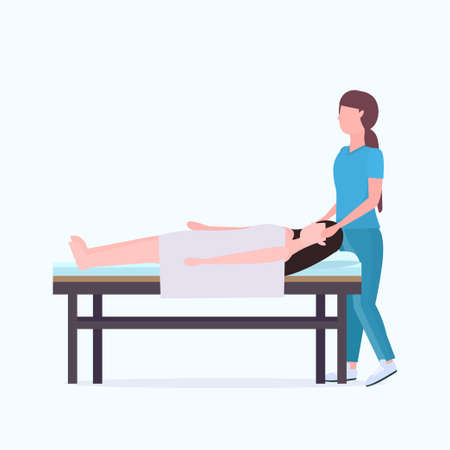 woman lying on massage bed african american masseuse therapist doing healing treatment massaging injured patient manual sport physical therapy rehabilitation concept full length vector illustration