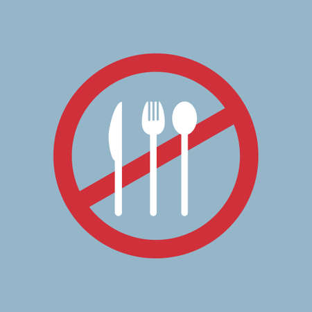 say no to plastic cutlery poster pollution recycling ecology problem save the earth concept disposable fork knife and spoon prohibition sign flat vector illustration Illustration