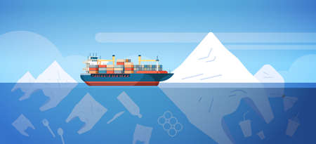 environmental problem of plastic rubbish pollution in ocean with container ship bags and other polluting waste floating underwater surface save the earth concept flat horizontal vector illustration