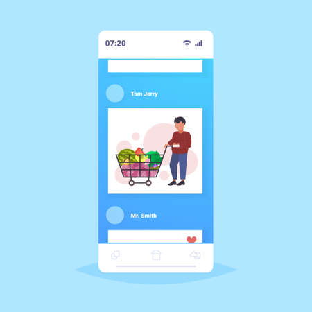 man grocery shop customer pushing trolley cart with groceries vegetables and fruits shopper buying products shopping concept smartphone screen mobile app flat full length vector illustration