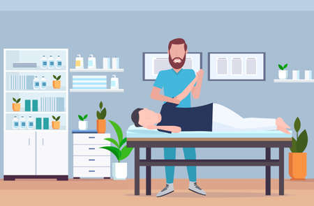 man patient lying on massage table therapist doing healing treatment massaging injured hand manual physical therapy rehabilitation concept full length modern hospital office interior horizontal vector illustration