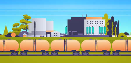 factory building industrial zone plant power station production technology concept train tanks with oil and fuel cityscape background horizontal flat vector illustration Illustration