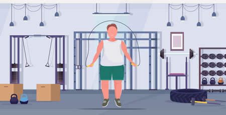fat obese man doing exercises with jumping rope overweight guy training workout weight loss concept modern gym health club studio interior flat full length horizontal vector illustration
