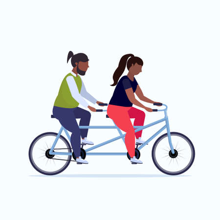 fat obese couple riding tandem bike african american overweight man woman cycling twin bicycle together workout weight loss concept flat full length white background vector illustration