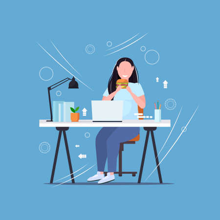 fat obese woman using laptop eating burger fast food unhealthy lifestyle concept overweight girl freelancer sitting at workplace flat full length vector illustration
