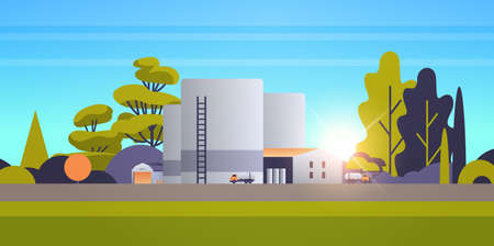 factory manufacturing building industrial zone plant power station production technology oil industry concept sunset landscape background horizontal flat vector illustration 일러스트