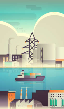 cargo container ship in sea over factory building industrial zone plant with pipes nature pollution production technology dirty waste environment concept vertical flat vector illustration