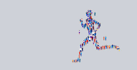businesspeople crowd gathering in running man shape different business people employees group standing together social media community concept flat horizontal vector illustration