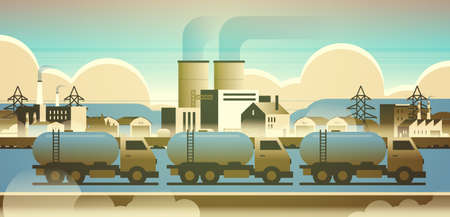 gas or oil tanker trucks over factory building industrial zone with pipes chimneys nature pollution dirty waste polluted environment production technology concept horizontal flat vector illustration 일러스트
