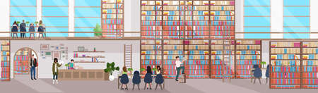 mix race people reading books men women visiting bookstore with bookshelves modern library interior flat horizontal banner full length vector illustration
