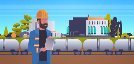 male engineer in helmet using tablet controlling train tanks with oil and fuel factory building industrial zone plant power station production technology concept horizontal vector illustration