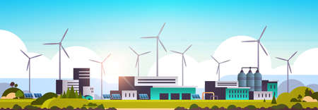 wind turbine solar panel alternative energy source factory building industrial plant power station clean nature ecology environment concept flat horizontal vector illustration