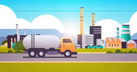 factory building industrial zone with gas or oil tanker truck pipes chimneys nature pollution dirty waste polluted environment production technology concept horizontal flat vector illustration