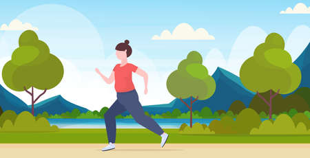 fat obese woman jogging overweight girl running sport activity training workout weight loss concept summer park landscape background flat full length horizontal vector illustration