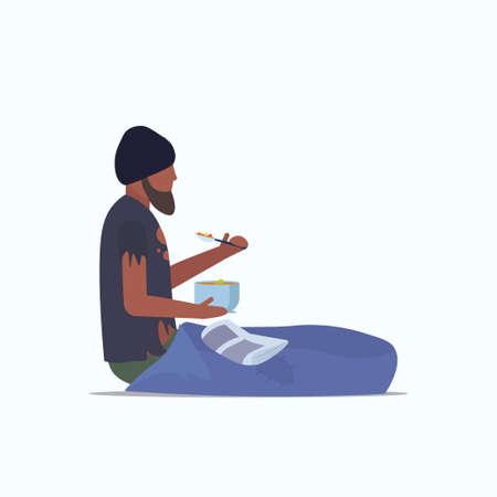 man beggar african american tramp sitting on floor and eating begging for help homeless jobless concept flat full length white background vector illustration Ilustração