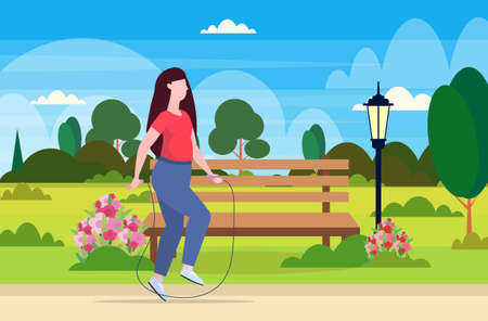 fat obese woman doing exercises with jumping rope overweight girl training workout weight loss concept urban park landscape background flat full length horizontal vector illustration