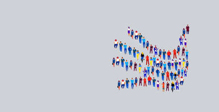 businesspeople crowd gathering in shape of palm hand symbol social media community concept business people group standing together full length horizontal vector illustration