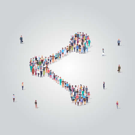 people crowd gathering in share icon shape social media community data storage concept different occupation employees group standing together full length vector illustration Vectores