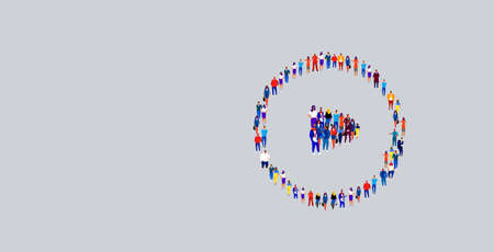 businesspeople crowd gathering in play button icon shape different business people group standing together social media community concept horizontal vector illustration