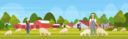 shepherd with stick herding flock of white sheep farmers team breeding sheep eco farming wool farm concept farmland countryside landscape flat full length horizontal vector illustration Ilustração